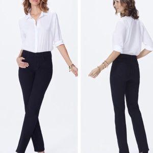 Nydj Marilyn straight leg black jeans lift tuck
